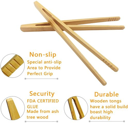 Reusable Bamboo Toast Tongs Kitchen Utensil Tea Tong for Fruits Toast Tea Bread Pickle Cooking Ultra Grip Wooden Toaster Tongs