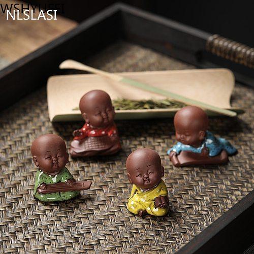 NLSLASI1 PCS Handmade Purple Clay Lovely Buddha Monk  Figurine Ornament Fingertip Tea Play tea Pets Boutique Tea Table Crafts