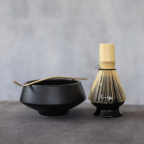 LUWU traditional ceramic matcha sets with bamboo whisk ceremic matcha bowl whisk holders tea sets