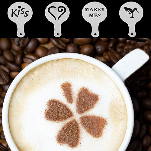 16Pcs/set Coffee Milk Cappuccino Coffee Stencils Template Strew Flowers Pad Duster Spray for Coffee Decor Tools Accessories