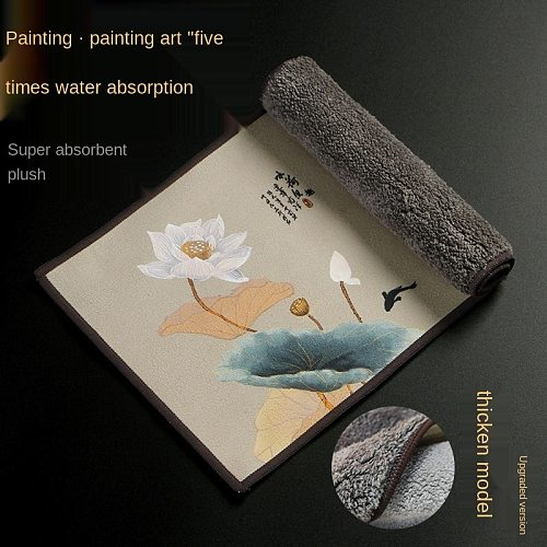 High-end tea towels tea cloth tablecloth absorbent tea table mats raise pot towels tea mat thickening Zen painted tea cloth