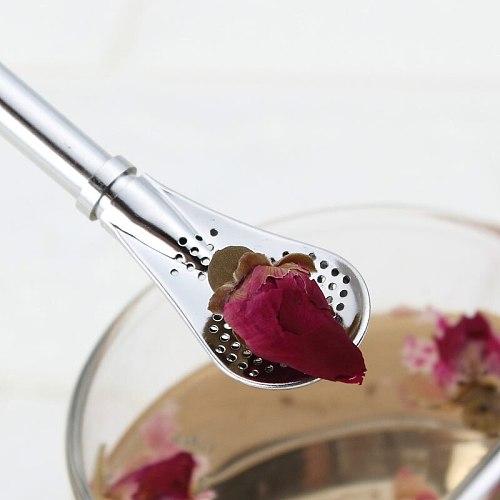 Wonderlife Stainless Steel Spoon Straws Tea Strainer Shaker Coffee Filter Spoons Tableware Ice Cream Dessert Kitchen Spoons