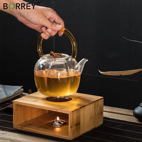 BORREY Bamboo Candle Warmer Insulation Base Coffee Teapot Heating Base Tea Stove Candle Holder Tea Accessories Dry Burning Table