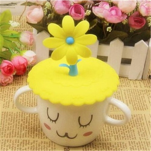1 Pcs Cute Anti-dust Silicone Cup Cover Coffee Suction Seal Lid Cap Silicone Airtight Love Spoon Novelty Creative Child Cup Hat