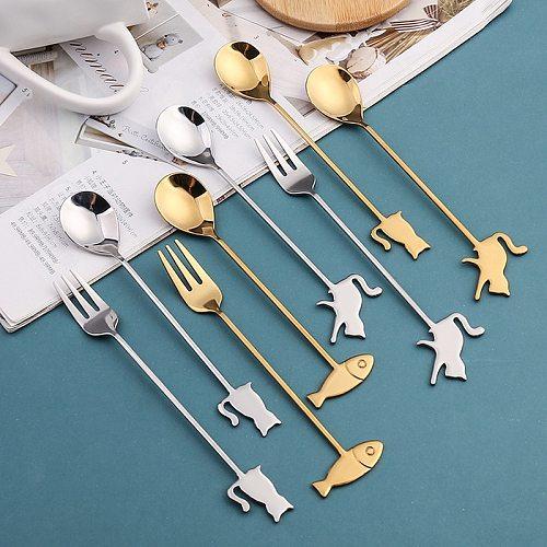 Japanese Style Cat Fish Spoon Coffee Stirring Spoon Cute Dessert Stainless Steel Milk Tea Spoon Home Kitchen Coffee Accessories