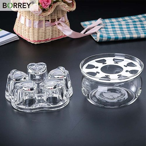 BORREYPortable Teapot Holder Base Glass Coffee Water Scented Tea Warmer Candle Holder Teapot Warmer Insulation Heart-Shaped Base