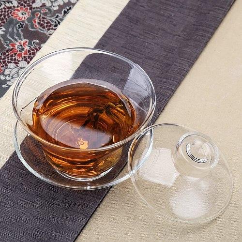 Large Glass Transparent Gaiwan Chinese Teaset Sancai Tea Bowl Single Thick Heat-resistant Cover Bowl Tea Cup and Tea Lid Set