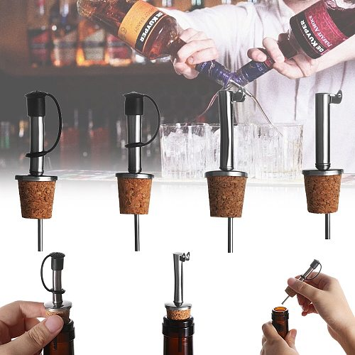 1/3PCS Wooden Cork Red Wine Pourer Oil Beer Bottle Stopper Plug With Cover Home Kitchen Bar Accessories