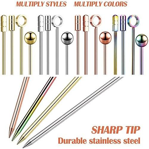 4 pcs Cocktail Sticks Stainless Steel Fruit Sticks,Reusable Drink Picks Martini Picks Toothpicks for Drinks