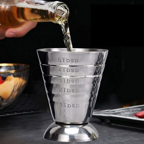 75ml Measuring Shot Cup Ounce Jigger Bar Cocktail Drink Mixer Liquor Measuring Cup Mojito Measurer Coffee Mug Stainless Steel