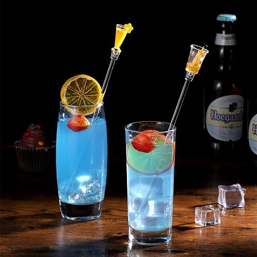 10pcs 23CM Cute Cocktail Drink Mixer Bar Stirring Mixing Sticks with Colorful Miniature Accessory (Random Color)
