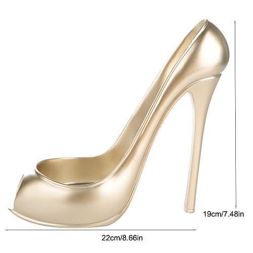 Novelty High Heel Shoe Wine Bottle Holder Storage Wine Rack Home Decor(Golden)