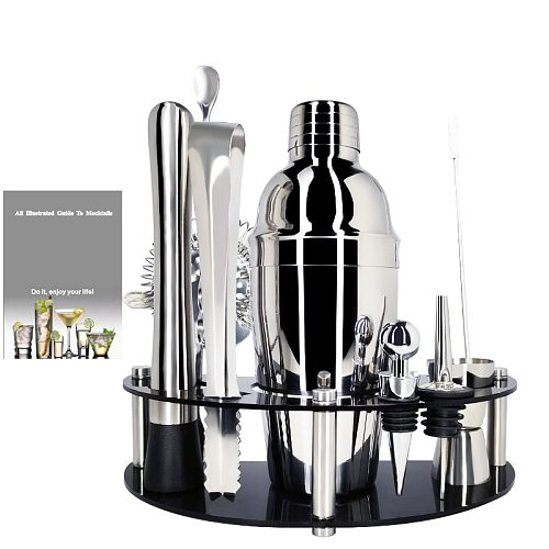750/550ml Stainless Steel Cocktail Shaker Set with Bar Tools Perfect 25/19oz   Bar Set for Home Bars