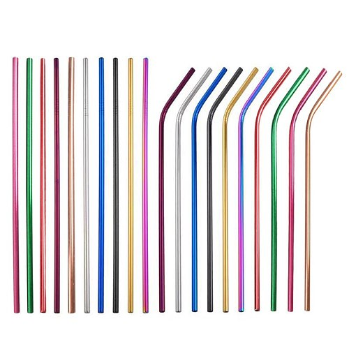 Reusable Drinking Straws 18/10 Stainless Steel Straw Set  Metal Colorful Straw With Cleaner Brush Bar Party Accessory 215MMX6MM