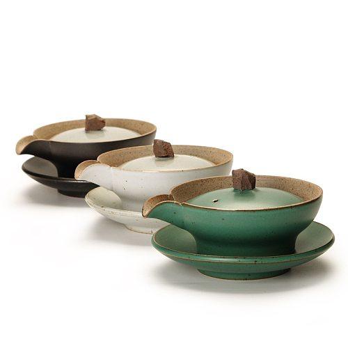 Japanese Stoneware Kung Fu Tea Set Ceramic Gaiwan Bowl Hand Grab Pot Bubble Teapot Manual Kiln Discoloration Glaze Tea Bowl