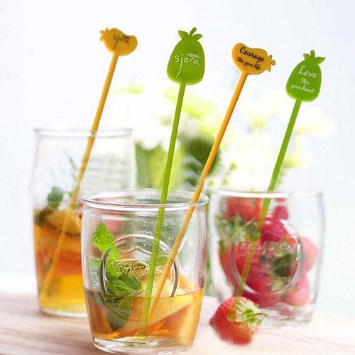 10 Pcs Plastic Cocktail Picks Swizzle Sticks Drink Wine Beverage Juice Stirrer Coffee Muddler Puddler for KTV Bar Restaurant