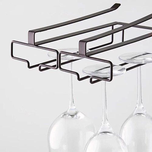 Stemware Inverted Storage Shelf Wine Glass Holder Hanging Iron Rack Champagne Goblet Cup Under Cupboard