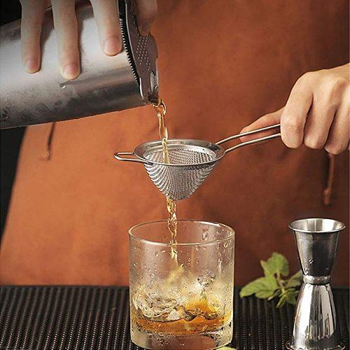 4 Sizes Stainless Steel Fine Mesh Cocktail Strainer Colander Sifter Sieve Bar Tool Whiskey Vegetable Scraper Filter Spoon