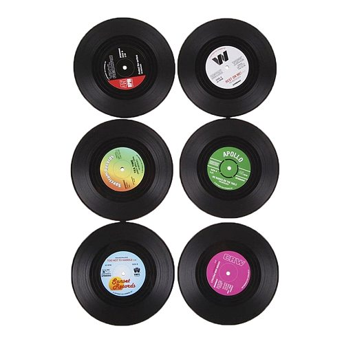 6x Round Vintage CD Vinyl Coasters Record Cup Drink Holder Mat Table Placemat 6 Kinds of Style Table Decoration