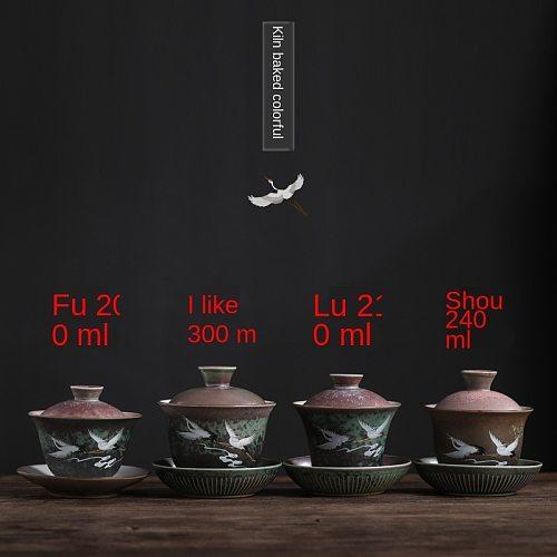 Sancai Tureen Ceramic Kung Fu Tea Creative Crane Home Queen Cup Tea Bowl Sopera De Ceramica Gaiwan Coarse Pottery Tea Set