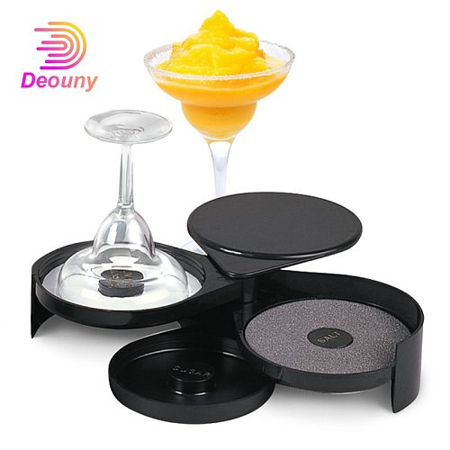 DEOUNY Dip Cocktail Glass Salt Box Three-Layer Margarita Seasoning Sugar Wine Glass Box Mini Bar Barman Gadgets Bartender Tools