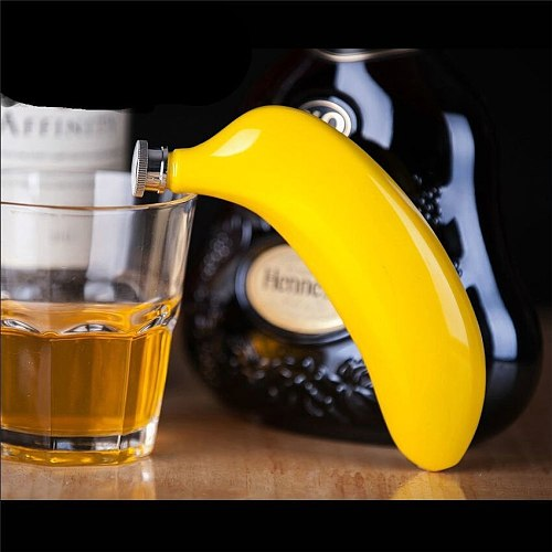 150ML Creative Banana Shaped Jug Wine Pot Stainless Steel Whiskey Hip Flask for KTV Bar Drinkware Home Decoration Supplies