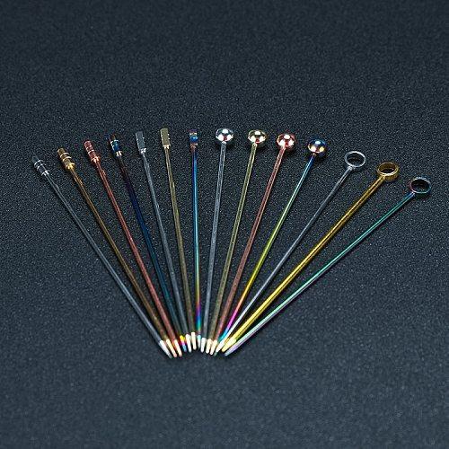 12pcs Cocktail Pick Stainless Steel Fruit Sticks Bar Tools Drink Stirring Sticks Martini Picks Party Wedding Accessory