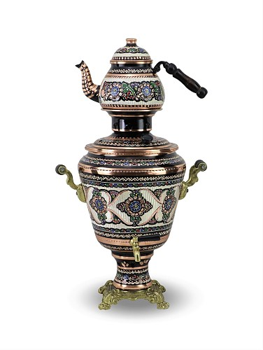 SONAYCOPPER New Model Copper Samovar Used with Coal, 1 mm Thick 4 lt Capacity (1250)