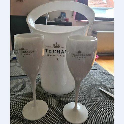 2glass+1bucket New Champagne Flutes Glasses Plastic Wine Cooler Glasses Dishwasher White Acrylic Champagne Buckets