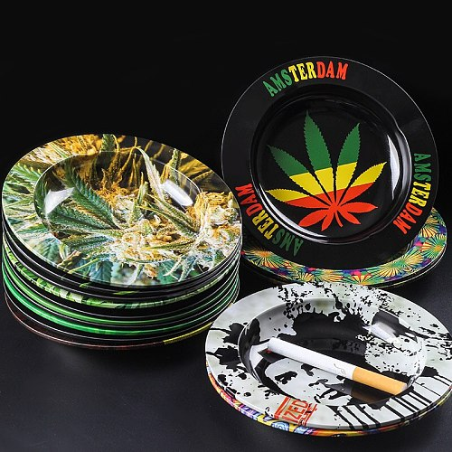 Rolling Tray Handroller Leaves Pattern Yellow Smoking Accessories Rolling Machine Grinder Storage Tray Metal Round