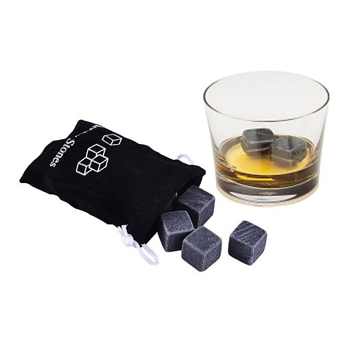 Dropshipping 6PCS/Bag Natural Reusable whiskey stones Bar Accessories home bar wine holder bag for freezer ice bucket champagne