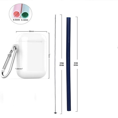 Reusable Food Grade Silicone Straw Outdoor Portable Foldable Drinking Straw With PP Luxury Carrying Case and Cleaning Brush