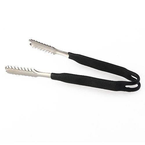 Stainless Steel Ice Clips Tongs with Rubber Wrapped Handle (Black)
