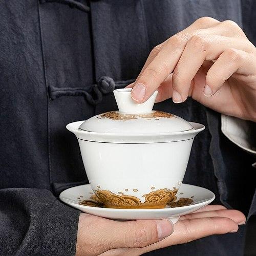 Home Chinese Tea Set Dehua Gaiwan Large Ceramic Blue and White Sancai Cover Bowl Single Teacup Jingdezhen Teapot Tea Bowl