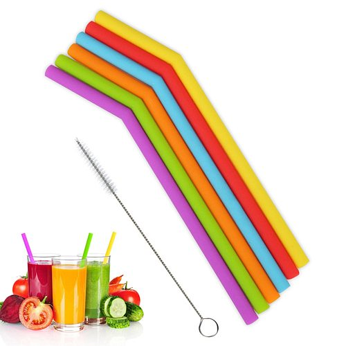 1Pcs Reusable Silicone Drinking Straws Long Flexible Straws 20 oz Tumbler Bar Party Straws