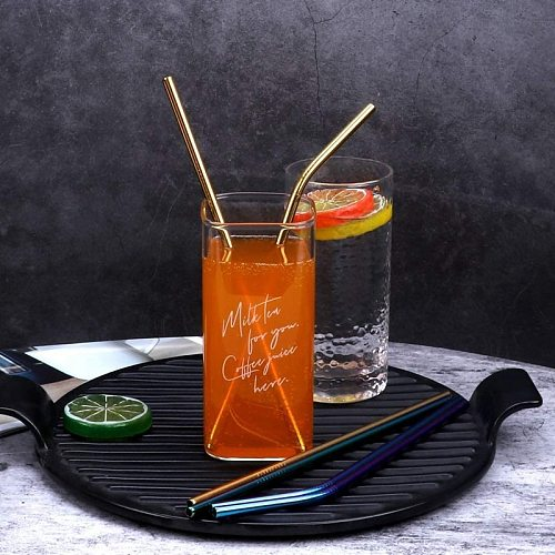 10 Colors Reusable Drinking Straw Eco-Friendly 18/10 Stainless Steel Straws Set Metal Colorful Straws Bar Party Accessory