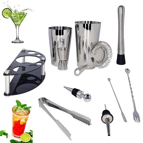 Cocktail Shaker Set Bartender Kit Stand 750/600/450ml Martini Drink Professional Stainless Steel Shaker Home Bar Tools