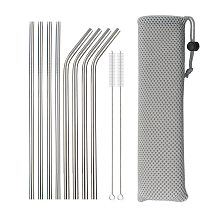 Reusable Metal Drinking Straws 304 Stainless Steel Sturdy Bent Straight Drinking Straw with Cleaning Brush Bar Party Accessory