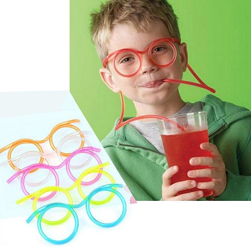 1pcs Funny Soft Plastic Glasses Straw Unique Flexible Drinking Tube Kids Party Bar Accessories Beer Colorful Homebrew