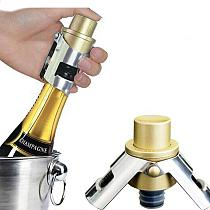 Stainless Steel Champagne Stopper Cork Sparkling Wine Bottle Plug Sealer Push-type Inflatable Champagne Plug Cap Bottle opener