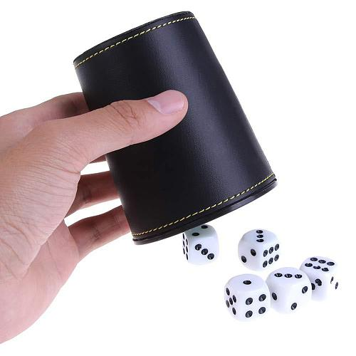 Faux Leather Flannel Dice Cup with 5 Dice Bar KTV Entertainment Accessories