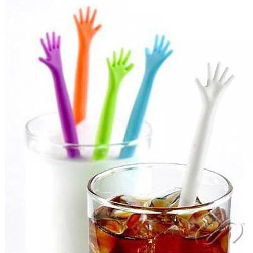 5pcs Cocktail Swizzle Sticks Drink Wine Stirrer Coffee Mixing Sticks Hand Shaped Plastic Bar Tools Night-club Accessories