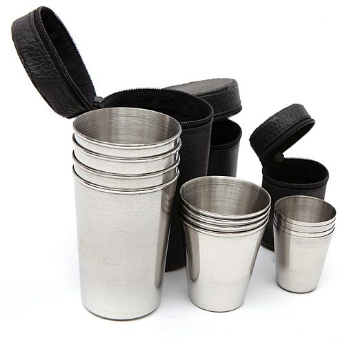 Shot glasses for vodka 4Pcs/Set Wine Drinking glasses Cup With Leather Cover Case Bag Barware For Home Kitchen Bar Whisky Wine