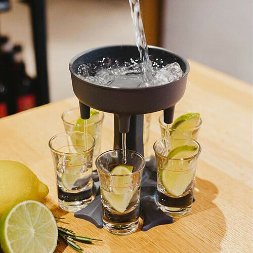 6 Shot Glass Dispenser Holder Carrier Caddy Liquor Dispenser Party Drinking Games Bar Cocktail Wine Beer Quick Filling Tool