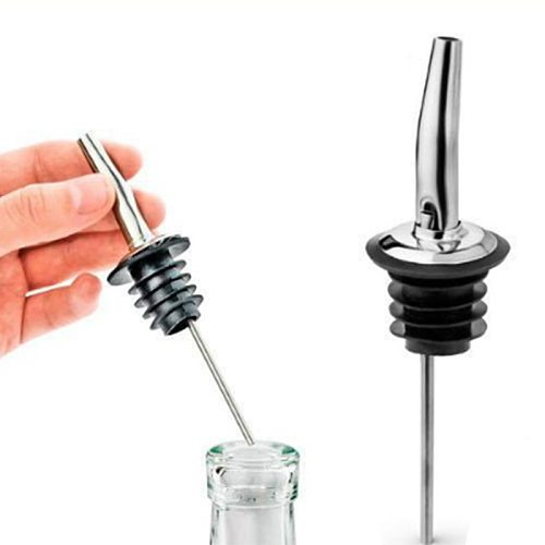 2PCS Pouring Stainless Nozzle Steel Alcohol Bottle Spirit Pourer Mobile Plug Bar Wine Stopper Pours