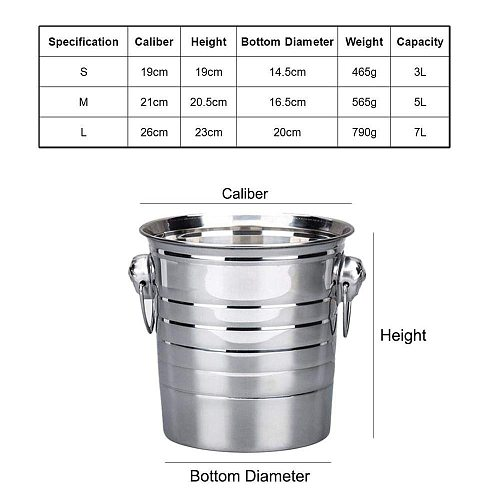 3L/5L/7L High Quality Stainless Steel Ice Bucket Thick Ice Holder Container for Bar Party Champagne Wine Barrel Silver
