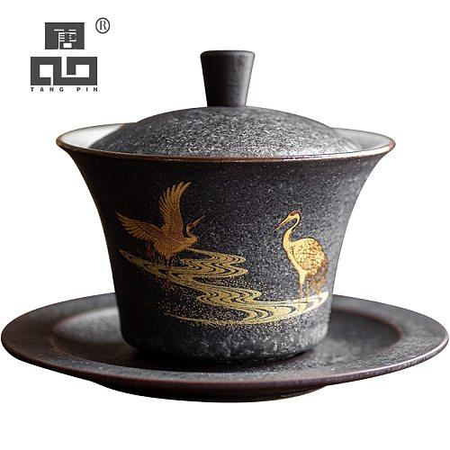 TANGPIN ceramic gaiwan tea cup handmade tureen chinese kung fu tea set drinkware