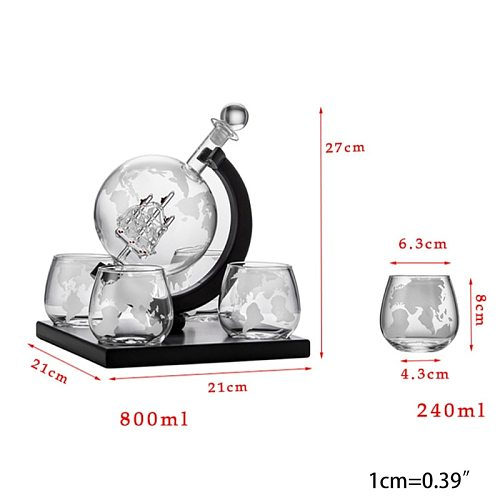 Whiskey Decanter Globe Set with 4 Etched Globe Whisky Glasses - for Liquor