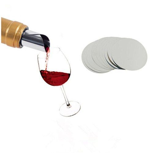 10pcs/set Foldable Wine Pourer Aluminum Foil Silver Wine Pourer Disc Foldable Flexible Drip Stop Pour Spouts Disk