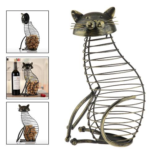 Cork Container Metal Wine Ornaments, Rustic Wine Cork Holder, Total for 40 Corks 18x12x31cm